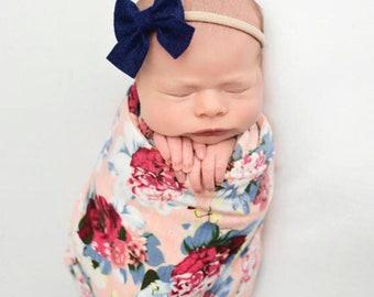 Baby Girl Headband, Newborn Headband, Baby Headband, Sailor Bow, Schoolgirl Bow, Baby Bows, Felt Bow, Knot Bow, Newborn Bow Headband, Baby