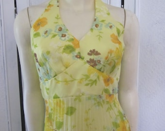 1960s Yellow Floral Print Halter-Style Gown with Pleated Skirt, Size 4 - 6