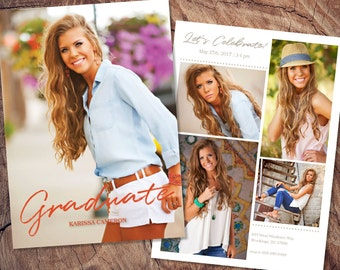 Senior Graduation Announcement Template Grad Invite Printable Graduation Photo Card Graduation Party Invitations Photo Collage Boy or Girl