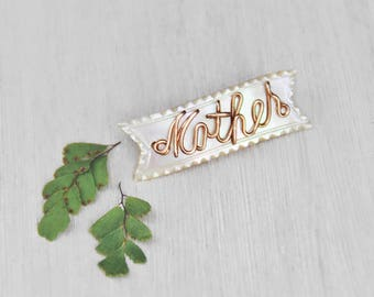 1 Mother of Pearl Ribbon Brooch - luminous shell pin with gold filled wire script - mother's day baby shower gift