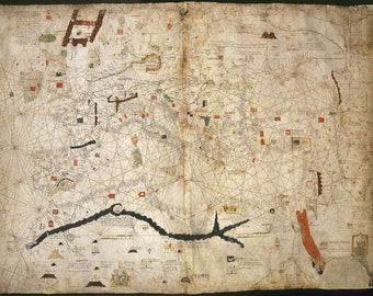 Map of Angelino Dulcert cropped, Old world map, Antique world map, Maps, World map, Old world maps, Ancient maps, 203