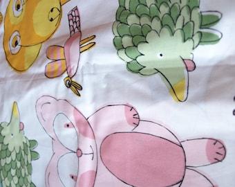 Stoff Spaß Tiere weiß rosa trägt grün Hichogs gelb Hunde Kinder Baumwolle Stoff skandinavisches Design skandinavische Textil