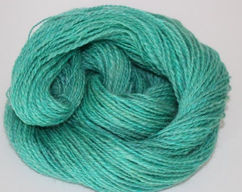Hand spun 2ply wool/mohair yarn Sea Glass green