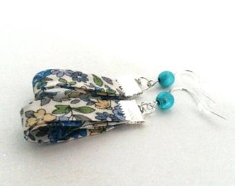 Blue floral liberty earrings