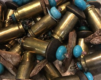 Bullet & Natural Turquoise Wood Chip Pendant Dangle Charm DIY Bullets