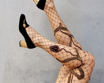 Romantic Floral Tights, Fishnet tights, One of a Kind hand Sewn Tights with Vintage Flowers and Crystals