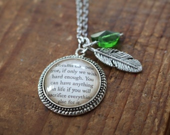 Peter Pan quote literary necklace