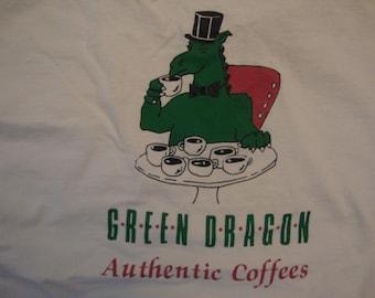 Vintage 90's Green Dragon Authentic Coffees Newport, Rhode Island Souvenir White T Shirt Size XL