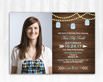 Mason Jar Birthday Invitation Photo DIY PRINTABLE Digital File or Print (extra) String Lights Birthday Invitation Wood Birthday Invitation