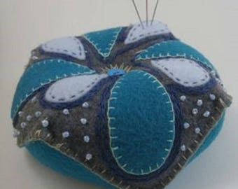 Hand Embroidered Pin Cushion in Blue and White Flower in Gray