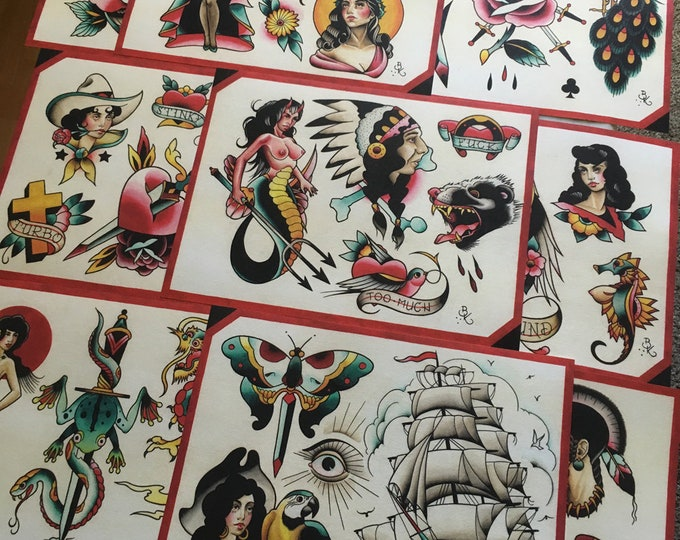 Tattoo Flash Set 18 by Brian Kelly. 9 sheets