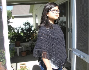 Knitted Poncho, Junior Girl - Black