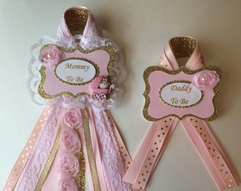 Pink And Gold Baby Shower Corsage Set/Mommy And Daddy To Be Corsage Set For