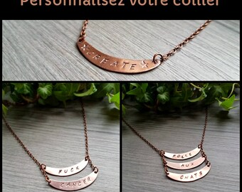 Custom Stamped Copper necklace Oxydize copper,