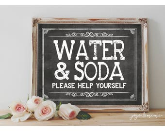 Instant 'WATER & SODA Help Yourself' Printable Sign Chalkboard Printable Party Decor Drink Table Bridal Shower or Event Size Options