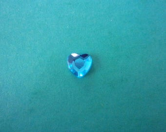 Rhinestones in the shape of blue acrylic heart, stick - 8mm