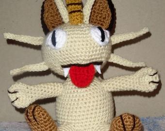 "Handmade Crochet Pokemon ""Meowth"" Plushie Stuffed Toy"