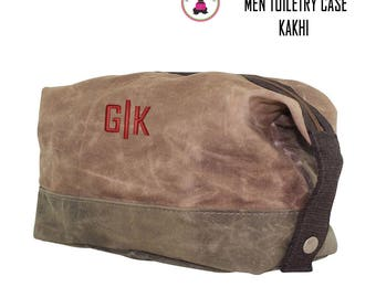 FOR HIM Monogrammed Waxed Canvas Deluxe Toiletry Case-Kakhi-Free Ship