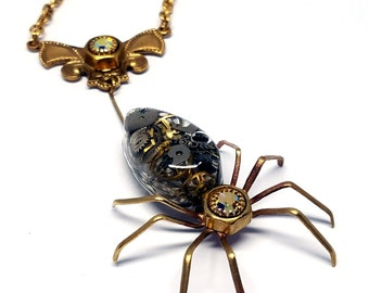 Victorian Steampunk Spider Necklace ~ Bright Brass ~ Resin Cabochon w/ Watch Gears, AB Rhinestones in Hex Nut Settings, Brass Chain #N0670