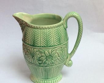 Vintage Green Vase with Handle. Green Jug. Falcon, made in England .