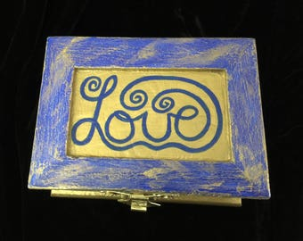 LOVE Handpainted and Decoupaged Wooden Ring Box