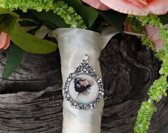 Bouquet Photo Charm Frame Rhinestone Wedding Bridal Memory Vintage Antique Silver