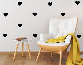 Heart Wall Decal - 5cm Set of 25+ - Nursery Wall Sticker Pattern Decor | PP112