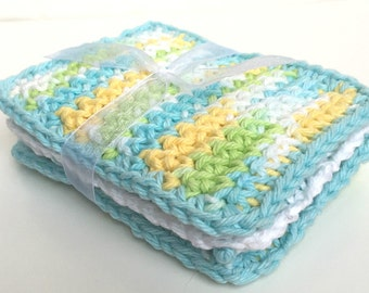 Crochet Sponge Dishcloth Washcloth - THICK - Set of 3 - Aqua Green Yellow White - 100% Cotton