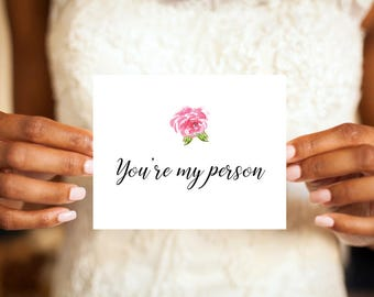 You're my person wedding day card, You're my person, You're my people, Wedding day card