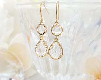 Gold Crystal Earrings - Clear Teardrop Earrings - Glass Drop Earrings - Crystal Tear Drop Earrings - Clear Crystal Earrings Dangle E2475