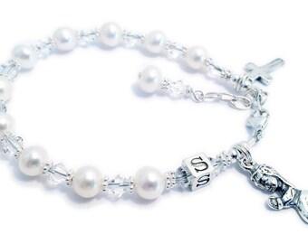 First Communion Bracelet or Confirmation Bracelet - Sterling Silver, Swarovski Crystals & Pearls