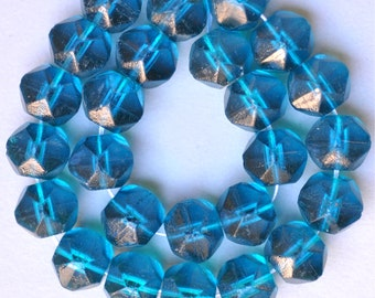 14mm Multifaceted English Cut Beads - Rought Cut Czech Glass Beads - Aqua, Teal or Cobalt - Qty 25