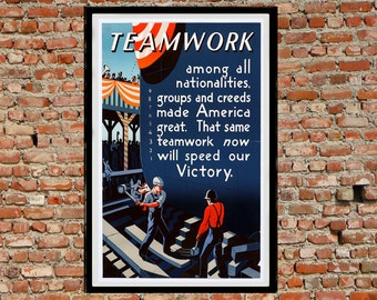 Reprint of the WW2 Propaganda Poster - Teamwork
