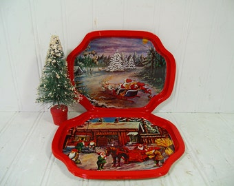 Red Christmas Trays Metal with Litho Christmas Scenes - Vintage Mini Decorative Tip Trays Collection of 4 BoHo Bistro Holiday Display Group