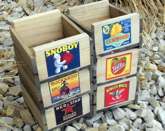 Set of Six Small Rustic Wooden Fruit Crates
