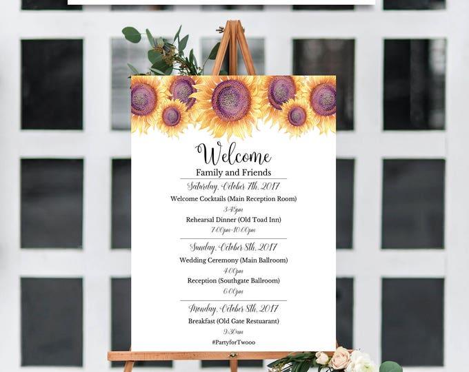 Wedding Program Sign, Wedding Program Template, Wedding Template, Sunflower Wedding Template, You Edit, Wedding Welcome Sign, Printable, DIY