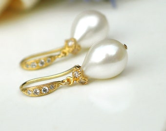 Teardrop Pearl Earrings | White Freshwater Drop Pearls | CZ Pavé Gold Vermeil Dangles | Vintage Inspired | Bridal Jewelry | Ready to Ship