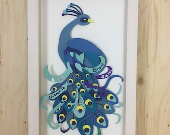 Bespoke Paper Art, Personalised Birthday Paper Art, 40th Birthday Gift, Gift for Her, 1st Anniversary, Unique Peacock Papercut, Peacock