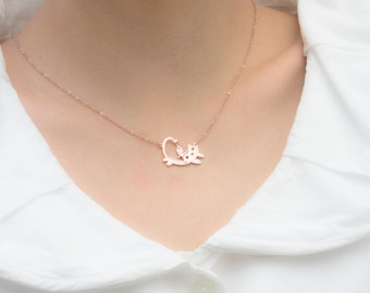 Sale Cat Necklace, Cat Jewelry, Cat Necklace, Cat Lover, Girls Necklace, Kitty Jewelry, Birthday Gift, Pet Jewelry, Pet Lover, Cat with Fish