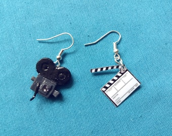 Antique video camera earrings and Claqueta clapperboard video Cine Cinema film camera retro vintage Earrings