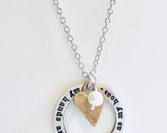 My hands are almost as full as my heart handmade necklace with pearl