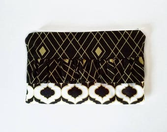 Ruffle clutch, clutch, handbag, zipper bag, small purse, black and gold bag, coin purse, pencil case, gift for her, fabric clutch