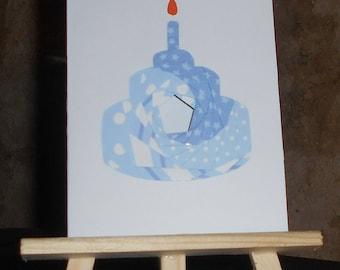 Birthday - cake card blue iris folding