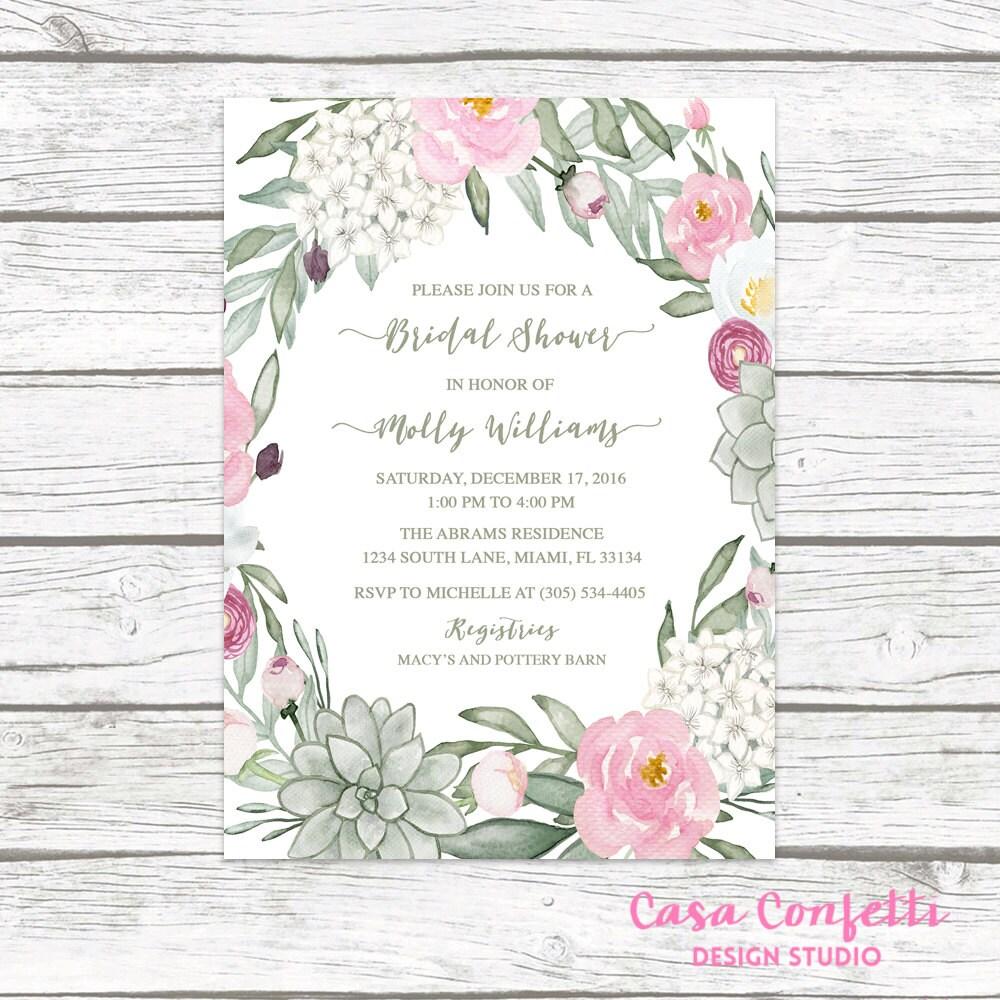 Succulent Bridal Shower Invitation Rustic Bridal Shower Invitation