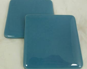Blue Fused Glass Coasters in Cool Dusky Blue - set of 2
