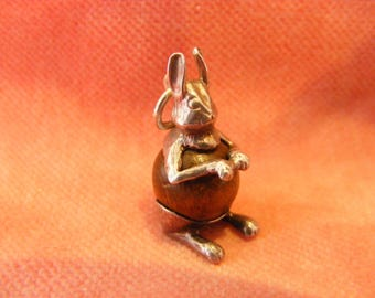 B) Vintage Sterling Silver Charm Touch Wood Hare or Rabbit