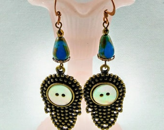 Handmade Bali Looking Earrings with shell and Czech Bead -214 V