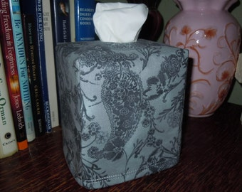 Ready To Ship - Grey Paisley Tissue Box Cover