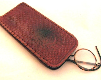 Vintage Genuine Leather Eye Glasses Case from USSR - Soviet Spectacle Cover - Gift for Grandmother - Soviet Leather