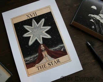 The Star Tarot Card A4 Fine Art Print. Space, Occult, Fortune Telling, Magic, Witchcraft, Universe, Night.